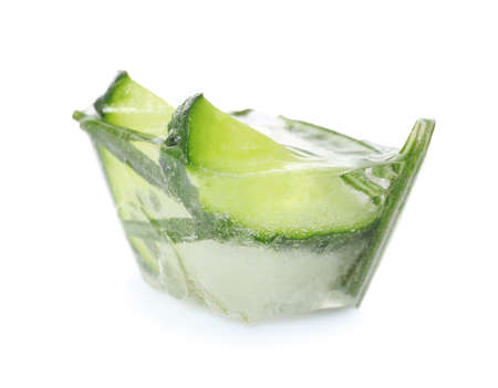 Ice cube with cucumber slices and rosemary on white background
