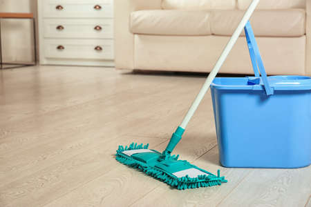 Mop and bucket on floor in living room, space for text. Cleaning service