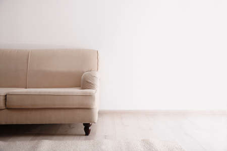 Simple living room interior with comfortable sofa near white wall. Space for text Stock Photo