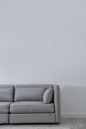Simple living room interior with comfortable sofa near light wall. Space for text Stock Photo