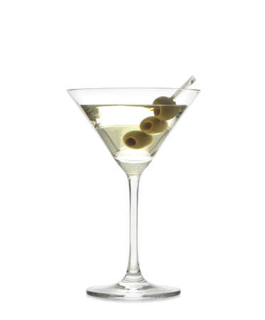 Glass of olive martini on white background