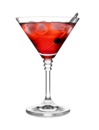 Glass of martini cocktail with berry and ice cubes on white background