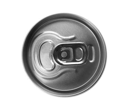 Top view of aluminum can with beverage on white background