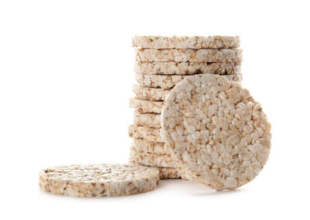 Crunchy rice cakes on white background. Healthy snack