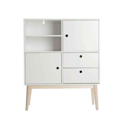 Stylish dresser on white background. Furniture for wardrobe room