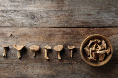 Flat lay composition of dried mushrooms on wooden background