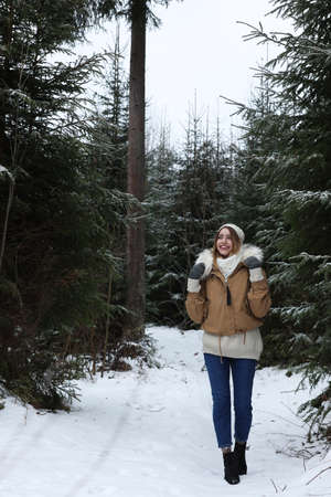 Young woman in conifer forest on snowy day. Winter vacation