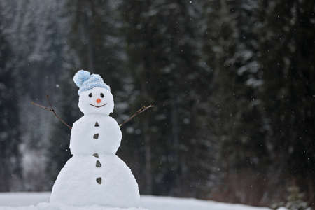Adorable smiling snowman outdoors on winter day. Space for text