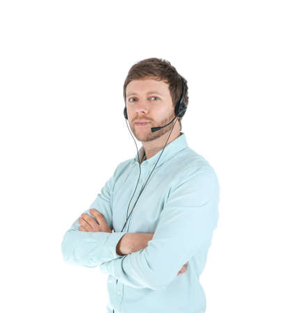 Male technical support operator with headset isolated on white Imagens