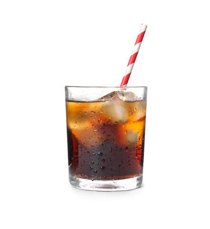 Glass of refreshing cola with ice on white background