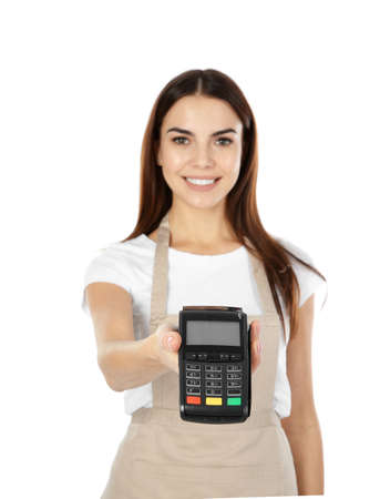 Waitress with terminal for contactless payment on white background