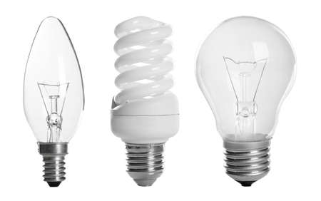 Set with different lamp bulbs on white background 스톡 콘텐츠
