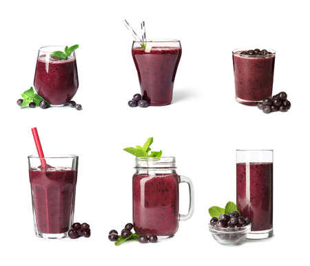 Set of delicious acai juice in different glassware on white background Stock Photo