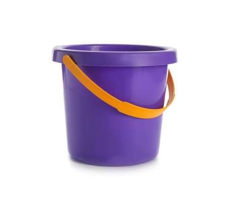 Toy bucket for sand on white background 写真素材