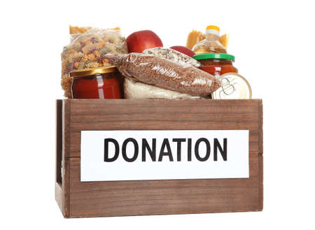 Donation box full of different products on white background 版權商用圖片 - 115725148