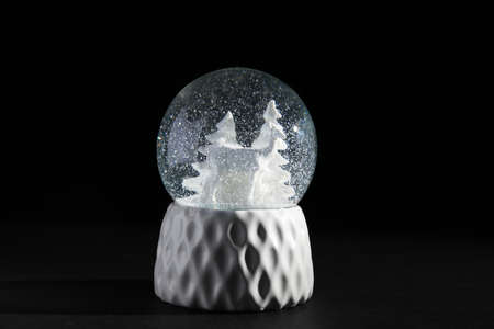 Snow globe with deer and trees on dark background Stock Photo