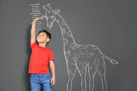 Simpatico bambino che misura l'altezza vicino alla giraffa di gesso che disegna su sfondo grigio Archivio Fotografico