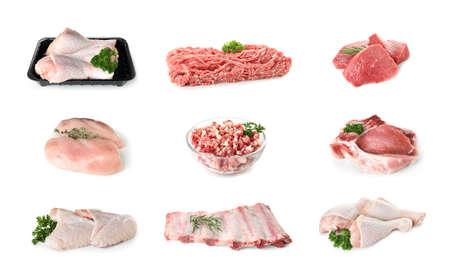 Set of various fresh raw meat on white background Archivio Fotografico