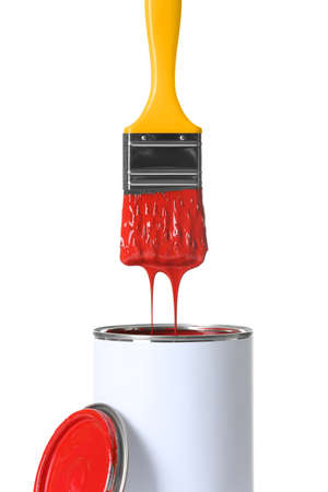 Open paint can and brush isolated on white background Standard-Bild - 115692860