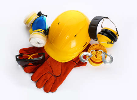 Protective workwear on white background, top view. Safety equipment Фото со стока