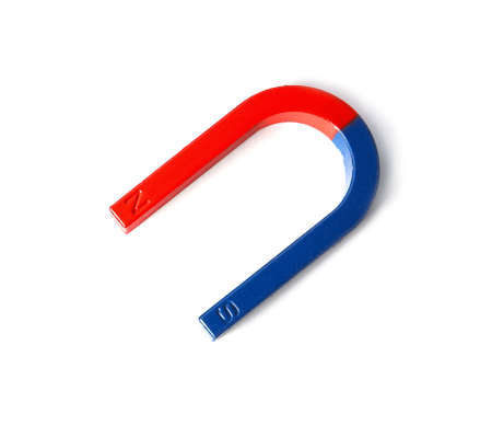 Red and blue horseshoe magnet isolated on white, top view