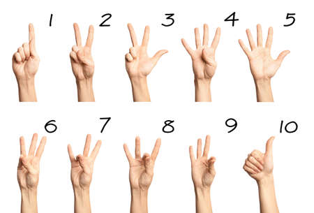 Set of woman showing numbers on white background. Sigh language