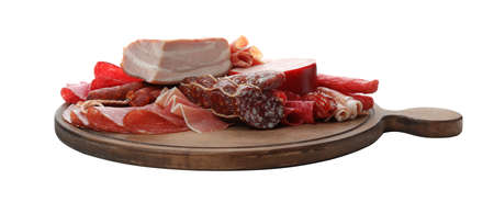 Cutting board with different meat delicacies on white background Фото со стока