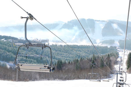 Beautiful mountain landscape with chairlift. Winter vacation 版權商用圖片