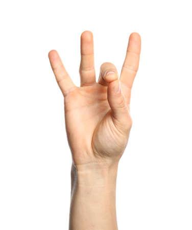 Man showing number eight on white background, closeup. Sign language 免版税图像