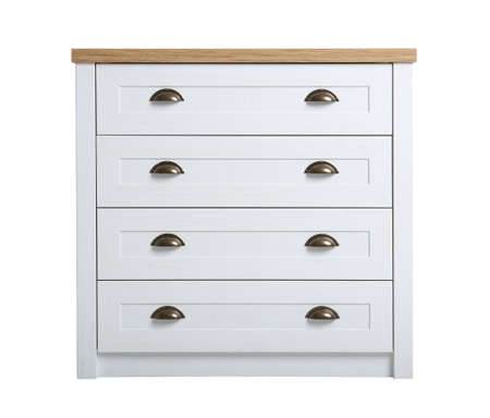 Modern light wooden chest of drawers isolated on white. Furniture for wardrobe room