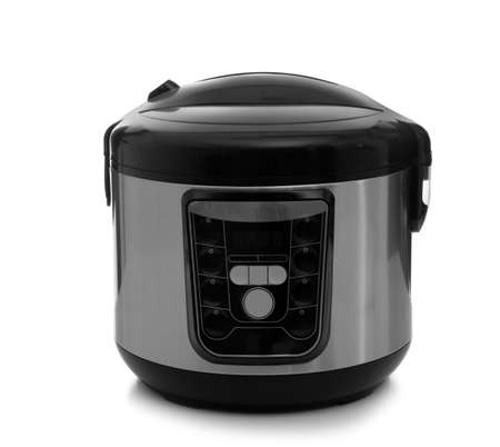 Modern electric multi cooker on white background