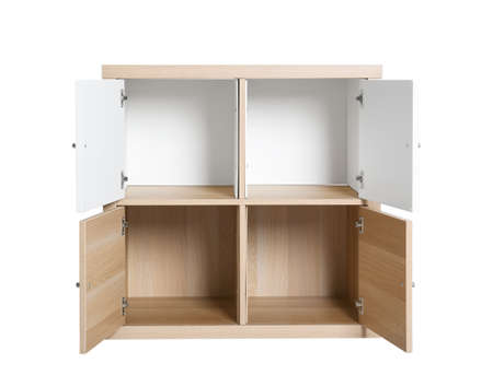 Modern light wooden cabinet isolated on white. Furniture for wardrobe room