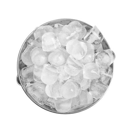 Metal bucket with pieces of ice on white background, top view