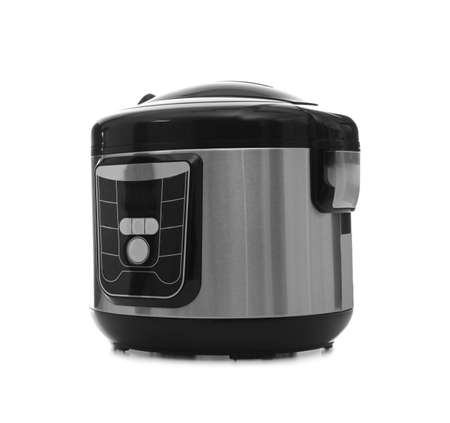 Modern electric multi cooker on white background Stockfoto - 116096980