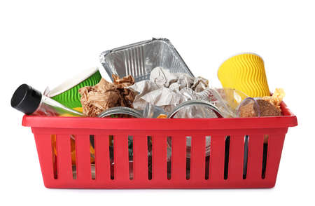 Crate with different garbage on white background. Trash recycling Stock Photo