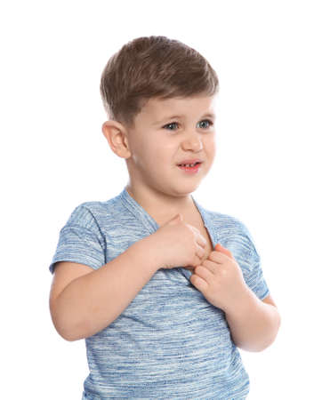 Little boy scratching chest on white background. Annoying itch Stock Photo