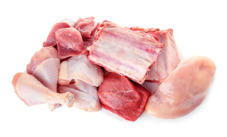Various raw meats on white background, top view Stock Photo