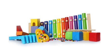 Set of different child toys on white background
