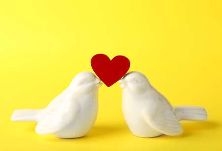 Ceramic birds holding little heart on color background