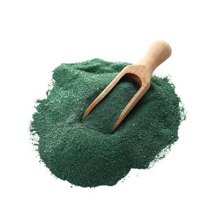 Spirulina algae powder and scoop on white background