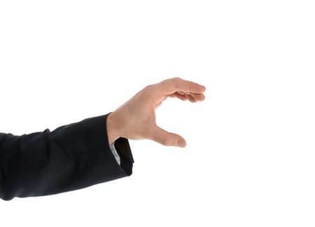 Man holding magnet on white background, closeup Stock Photo