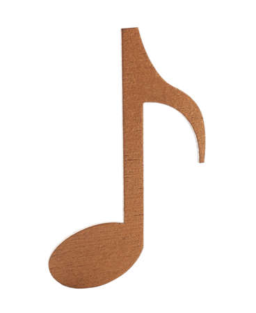 Brown wooden music note isolated on white