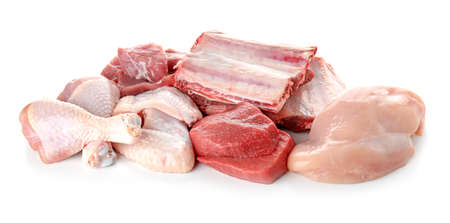 Various fresh raw meats on white background