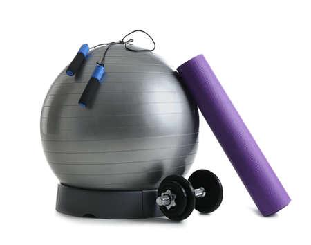 Set of fitness equipment on white background Reklamní fotografie