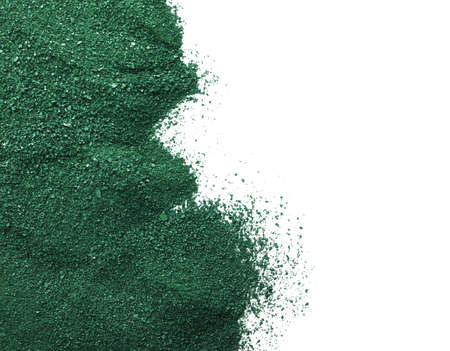 Spirulina algae powder on white background, top view with space for text