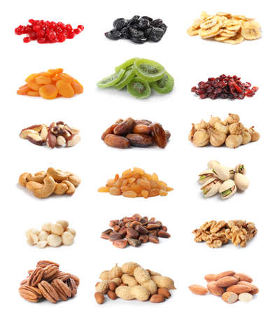 Set of healthy dried fruits and tasty nuts on white background