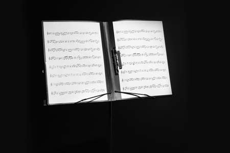 Note stand with music sheets on black background
