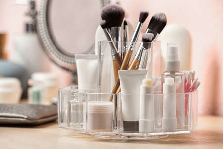 Set of body care cosmetic products on dressing table