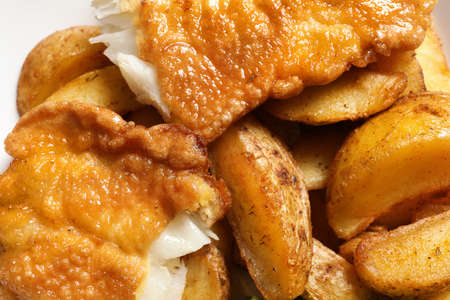 British traditional fish and potato chips, closeup