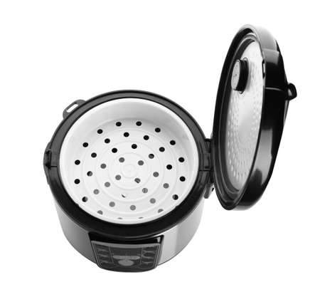 New modern multi cooker on white background, above view